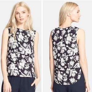 Theory Hodal Floral Print Silk Shell Top Navy Blue